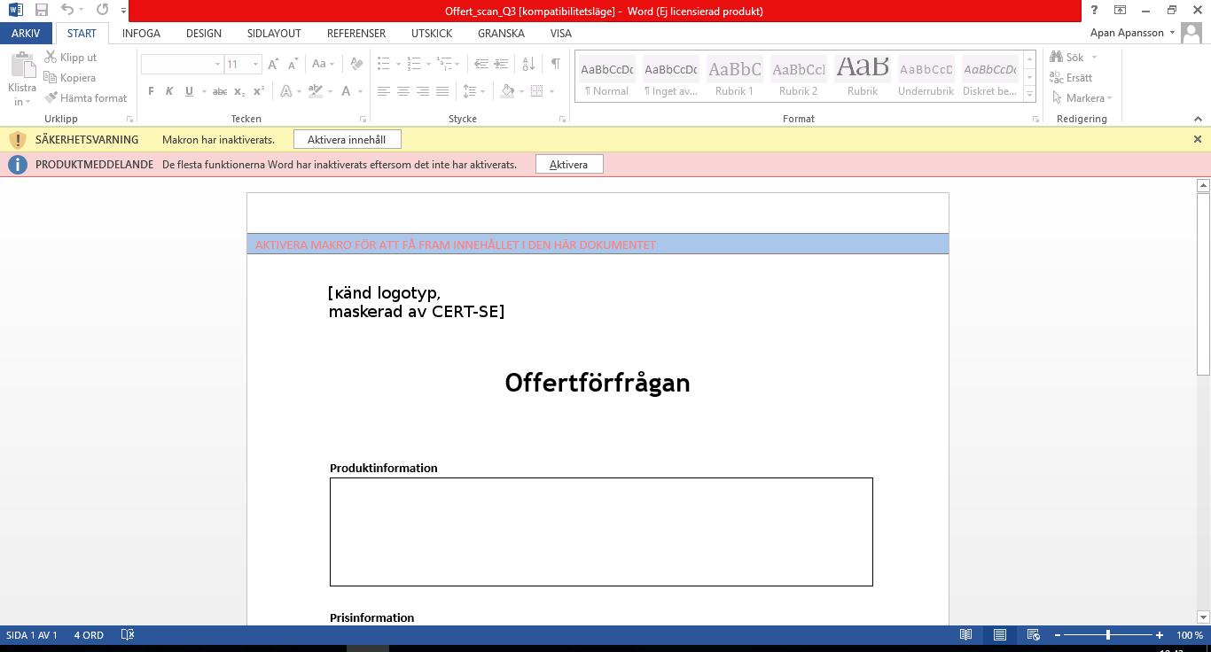 Dokument där användaren uppmanas aktivera makro